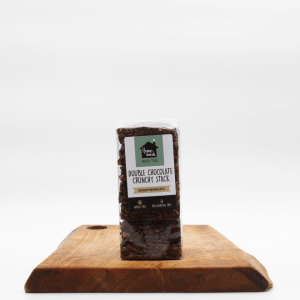 homemade double chocolate crunchies sitting on a wooden table